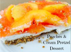 Peaches & Cream Pretzel Dessert is so yummy and fresh! This dessert can be made #glutenfree and is also delicious with other varieties of fruit.