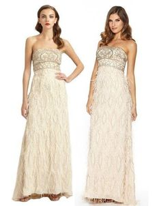 $790 Sue Wong Gown Strapless Feather Trimmed Wedding Dress Champagne Sz 8 | eBay