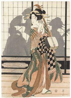 Eizan Kikugawa, Geisha with Shamisen, Color woodblock print. Geisha Drawing, Bushido, Japanese Art Prints, Ancient Japanese Art, Asian Artwork, Japan Painting, Art Japonais, Music Artwork, Japanese Embroidery