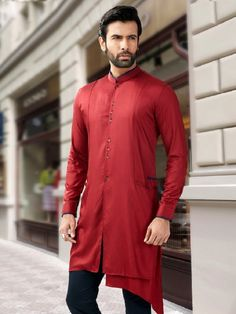 7415cee085 Maroon Plain Fancy Silk Short Pathani Kurta