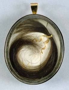 Matthew Flinders' hair, ca. 1800, stored behind miniature portrait of the explorer.  From the collection of the State Library of New South Wales. Find more detailed information about this image:   http://acms.sl.nsw.gov.au/album/albumView.aspx?acmsID=402338=846721