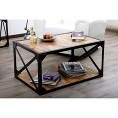 Table basse bois massif et métal industrielle ATELIER - La Redoute