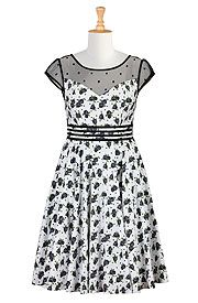 oh my gosh look at all these cute black and white dresses, big girl sizes!!!!!! drool drool!!! Rose print banded waist dress