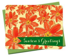Festive Floral - real birch wood holiday card - season's greetings