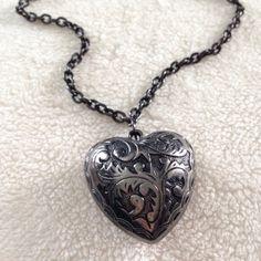 Brighton Heart Necklace Authentic Brighton gun metal heart necklace. Never worn. Brighton Jewelry Necklaces