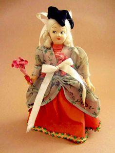 Italian Venice Carnival Columbine costume doll, folk doll, vintage, European doll, Eros