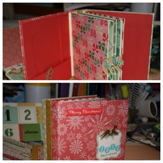 Christmas mini album out of Crate Paper Bundled Up collection. Made using parts of Kathy Orta File's hidden hinge system.