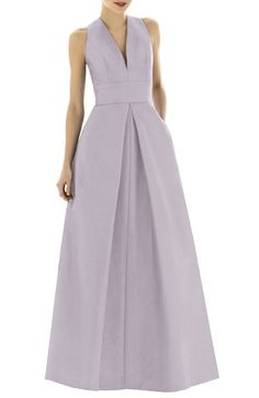 Free shipping and returns on Alfred Sung Dupioni A-Line Gown at Nordstrom.com. A slim V-neckline highlights the structured, cutaway-shoulder bodice of a rich dupioni gown that flatters with a wide inset waistband and voluminous A-line skirt, flared by extravagant inverted pleats.