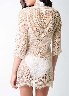 The most perfect beach cover up. Not too long not too short. Beautiful crochet detail all over. So gorgeous! Crochet Tunic, Crochet Clothes, Crochet Woman, Irish Lace, Trendy Clothes For Women, Beautiful Crochet, Modern Fashion, Clothing Patterns, Knit Dress