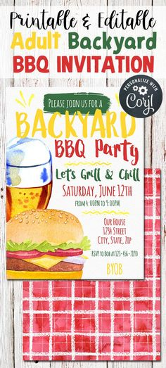Backyard BBQ Invitation Summer BBQ Party Invitation Summer   Etsy Couples Shower Invitations, Engagement Party Invitations, Barbecue, Birthday Bbq, I Do Bbq, Backyard Bbq, Wedding Backyard, Backyard Ideas, Outdoor Parties