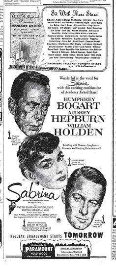 Sept. 22, 1954, Billy Wilder, Sabrina