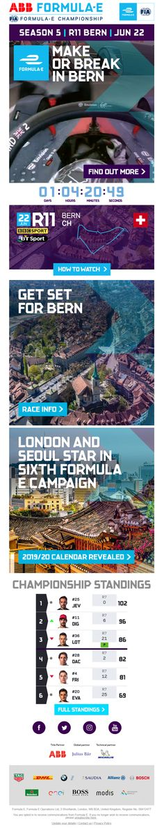Countdown to start of race from Formula E #EmailMarketing #Email #Marketing #CountdownTimer #Countdown #Timer #Sport #Events