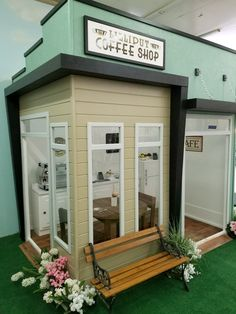 Relax and get served your favorite beverage in Lilliput's Kids Coffee Shop Play House by Lilliput Play Homes Kids Play Area Indoor, Kids Play Spaces, Indoor Playground, Kids Play Kitchen, Playground Design, Play Kitchens, Play Areas, Wood Playhouse, Indoor Playhouse