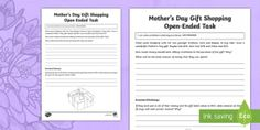 Mother\'s Day Gift Shopping Open-Ended Task Activity Sheet - Mother's Day Maths, maths, mother, mother's day, mum, addition, subtraction, year 4, ACMNA080, mon