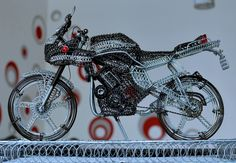 A motorbike of wire