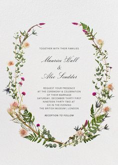 Fleurs Sauvages by Paperless Post. Create beautiful wedding invitations for all of your bridal events with our easy-to-use design tools and RSVP tracking. Available online or on paper. View more wedding suites on paperlesspost.com.