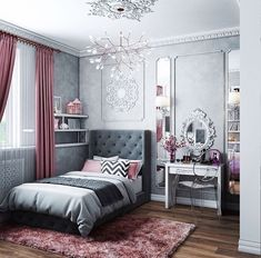 Teen Girl Bedrooms fabulous and dreamy living space - From modern to warm teen girl room decor. Saved at teen girl bedrooms themes shabby chic , image pin idea inspired on 20190206 Trendy Bedroom, Modern Bedroom, Bedroom Small, Bedroom Vintage, Small Rooms, Vintage Curtains, Gray Bedroom, Bedroom Bed, Contemporary Bedroom