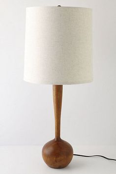 Teak and White Table Lamp | Mid Century Modern