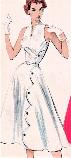 fb1dc998cf7 1950s GORGEOUS Dress Pattern BUTTERICK 6541 SCALLOPED Swirl Skirt Dress  Back to Front Closure Bare Shoulders
