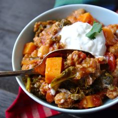 Sweet potato, kale, and turkey chili. Now that the weathers a little cooler I need to do heavier dishes.