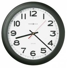 625320 Howard Miller Auto Daylight Savings Black Wall Clock NORCROSS Matte  Black Case With White