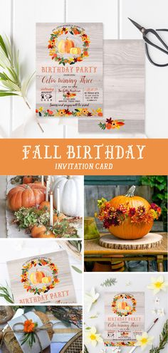 Pumkin and fall birthday party! Fall birthday party invitation with cute pumpkin and wreath, orange, green and yellow colors. Gender neutral and perfect for boy and girls birthdays!