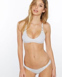 Frankie's Bikinis Marina Top in Polka Dot- Small - Final Sale Polka Dot Bikini, Polka Dots, Two Piece Swimsuits, One Piece Swimsuit, Swimwear 2015, Camila Morrone, Beach Bunny, Designer Swimwear, Monokini