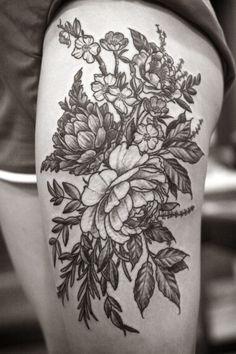 Floral thigh piece by Alice Carrier at Wonderland Tattoo in Portland, OR. http://wonderlandtattoospdx.tumblr.com