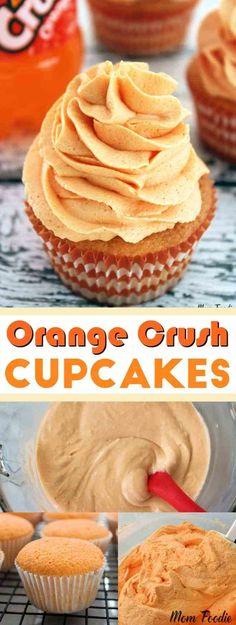 Orange Crush Cupcakes - fun cupcakes made with Orange Crush soda! #cupcakes #baking #orangecrush