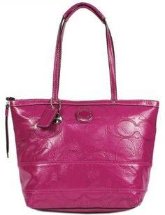 4025fc1626c2 Coach Signature Stripe Stitched Patent Leather Tote Bag