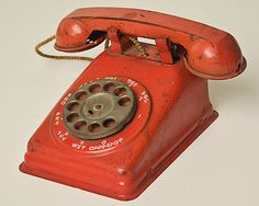 Red Antique Metal Toy Phone