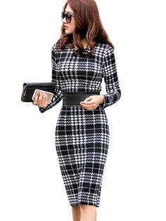 Plaid Slim Knee-Length Women's Sheath Dress