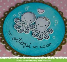 Lawn Fawn Inspiration Week continues today with a look at the new Octopi My Heart stamp set and the Fancy Scalloped Cir. Octopus Card, Lawn Fawn Blog, Lawn Fawn Stamps, Paper Crafts, Diy Crafts, Embroidery Needles, Heart Cards, My Heart, Card Making