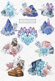 Flower Drawing GEMSTONES watercolor collection by Lemaris on Gem Tattoo, Stone Tattoo, Succulent Tattoo, Crystal Drawing, Crystal Tattoo, Plant Drawing, Guache, Oeuvre D'art, Watercolor Art