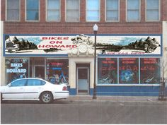 A new store mural I created for Bikes on Howard located in Hibbing Minnesota. Hibbing is the hometown of Bob Dylan.