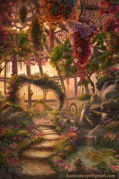 Tempel garden fantasy GlassHouse Evening by on DeviantArt Fantasy Artwork, Fantasy Art Landscapes, Fantasy Landscape, Fantasy Rooms, Fantasy Concept Art, Landscape Artwork, Watercolor Landscape, Landscape Architecture, Landscape Design