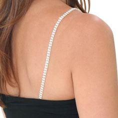 Double Row, Silver Rhinestone Bra Straps - Adjustable crystal bra strap is 13 inches of double row diamond-like rhinestones set in silver with a 7 inch adjustable silver-link chain, lobster claw clasp. Total length is 20 inches.