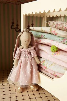"The Bunny Princess & The Pea Set - anthropologie.com    Includes bunny, canopy bed, seven mattresses, knitted pea and story card  13.5""H, 11""W, 6.25""D   $150.00"