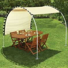 "sun shelter with an adjustable canopy that provides respite from the sun any time of the day without requiring relocation.  The frame is made from durable anodized aluminum and has four 8""-diameter stainless steel feet, providing resistance to winds   Beige canopy. 8 1/4' L x 7 1/4' W x 7' H. DIY with shower curtain rings, - adjustable canopy, DIY with shower curtain rings, grommets, canvas,"