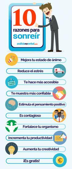#Infografía: 10 razones para sonreír. Los beneficios que una sonrisa puede aportar a nuestra salud y estado emocional.