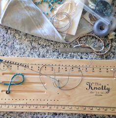 Using my Knotty Do it All board. Making a macrame wrap bracelet. Ladder stitch and herringbone knotting.