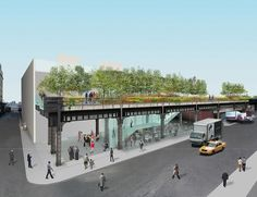 Drawing for old existing flyover railway into elevated garden, NY 2012