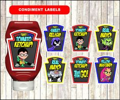 Teen Titans Go Chalkboard Condiments Labels by talitaprintstore