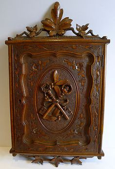 """Gorgeous Antique late 1800's Black Forest Hand Carved Walnut Key Safe Cabinet. 16 1/2 """" Tall x 10"""" Wide the interior measures 10 3/4"""" Tall x 8 1/2 """" Wide. Beautiful Details.!! Love it !  Photo via Ebay"""