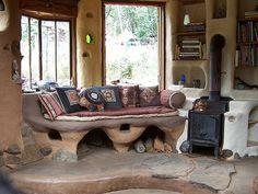 Casa de cob o casa d barro, interior.