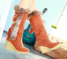 Womens Fashion Winter  Suede Faux Wedge Heel Rabbite Fur Knee-High Boots Shoes