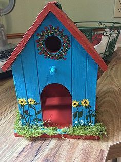 bird house painted for fairy garden, crafts, gardening, Hand painted for Fairy Garden