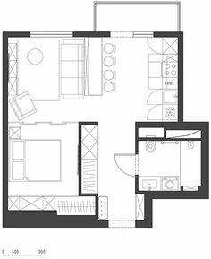 Studio-Apartment: Innenarchitektur - make up room studio Cottage Floor Plans, Small House Plans, House Floor Plans, Studio Apartments, Small Apartments, Small Spaces, Granny Pods, Flat Plan, Backyard Cottage