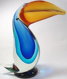 Murano Art Glass Toucan Bird Sculpture- Venetian Sommerso Vetri Italy RARE MCM