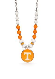 accessory PLAYS  Silver-Tone Tennessee Volunteers Beaded Collar Pendan